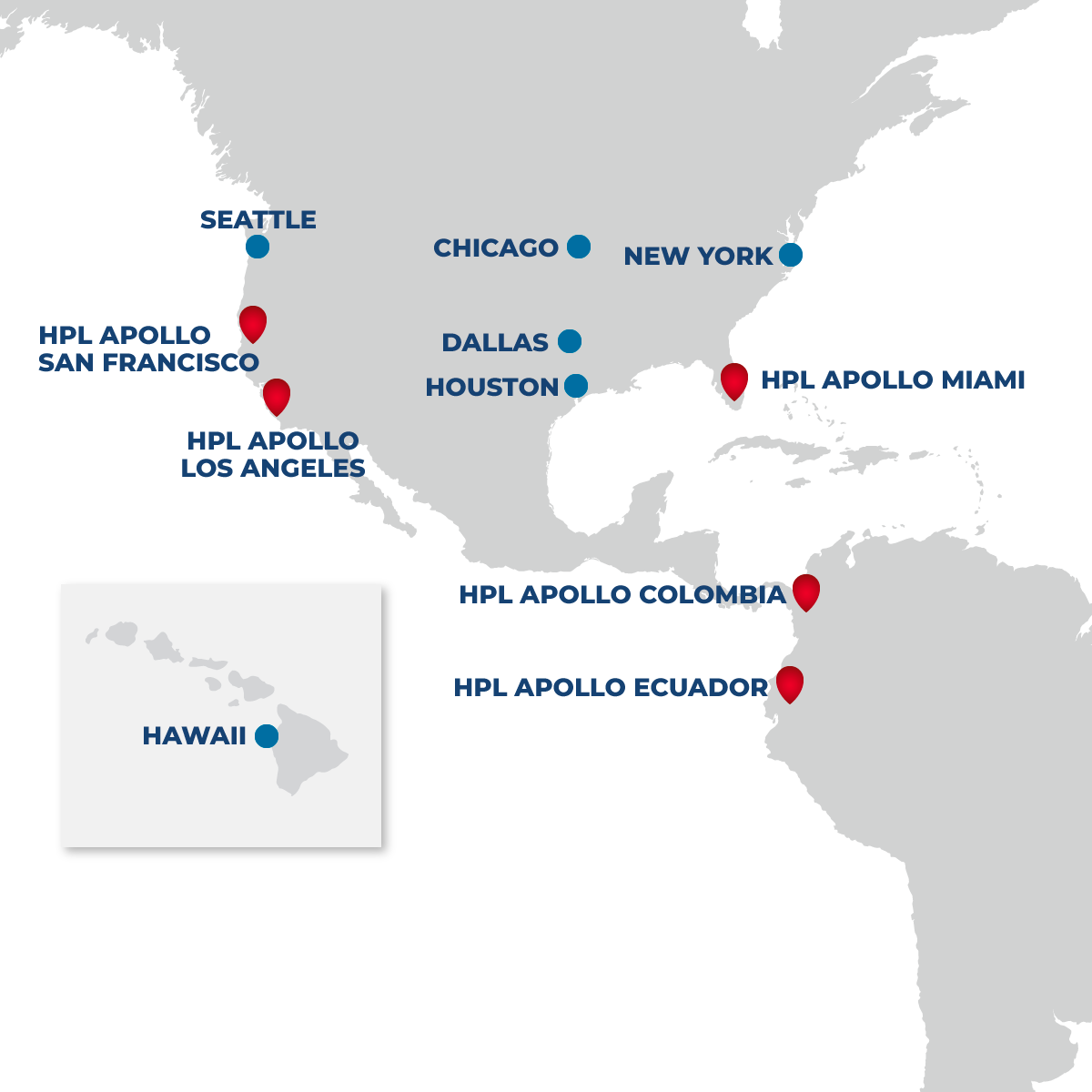 Map of HPL Apollo locations in Americas